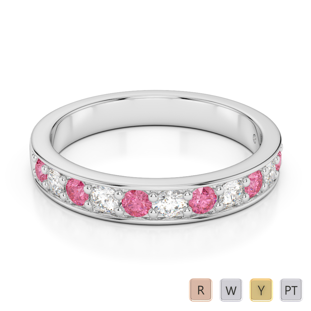 3 MM Gold / Platinum Round Cut Pink Tourmaline and Diamond Half Eternity Ring AGDR-1084