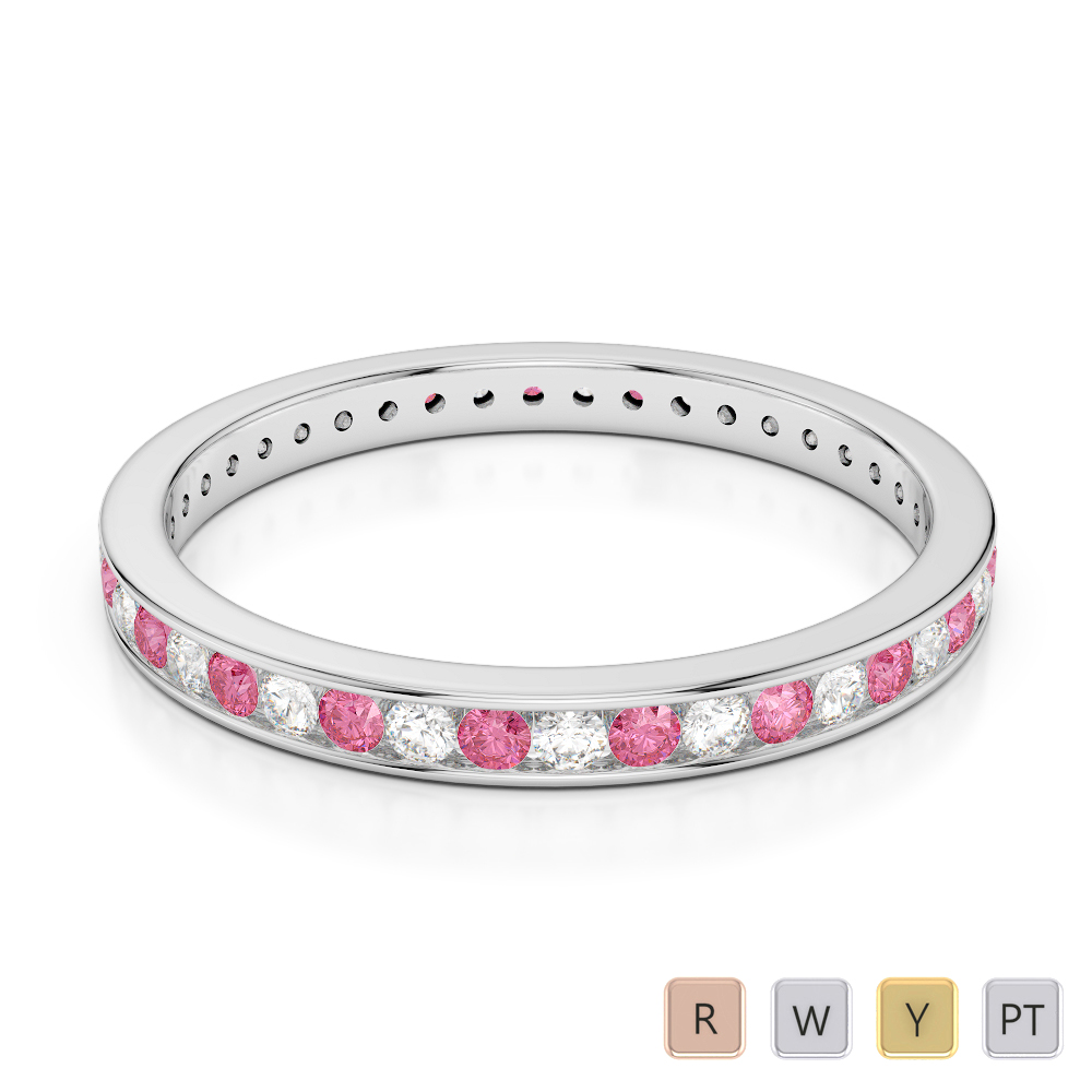 2.5 MM Gold / Platinum Round Cut Pink Tourmaline and Diamond Full Eternity Ring AGDR-1086