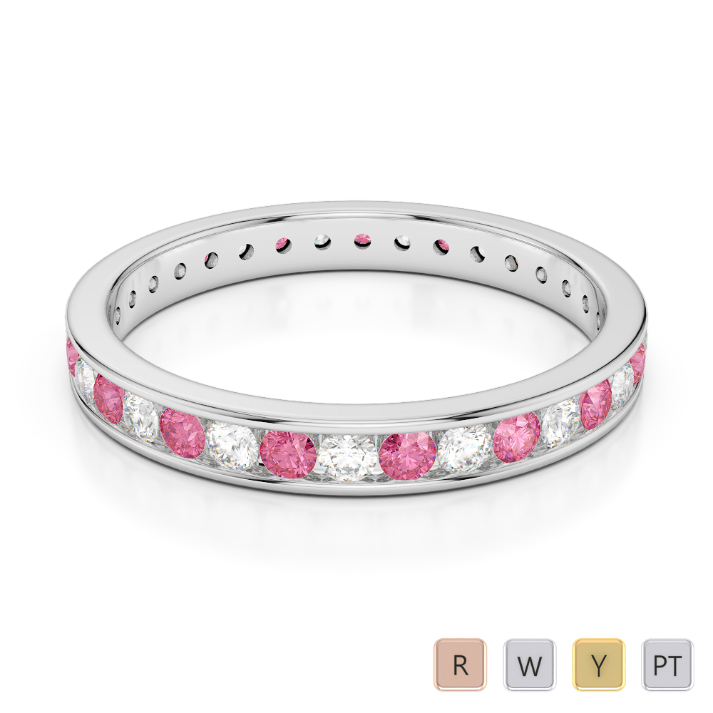 3 MM Gold / Platinum Round Cut Pink Tourmaline and Diamond Full Eternity Ring AGDR-1087