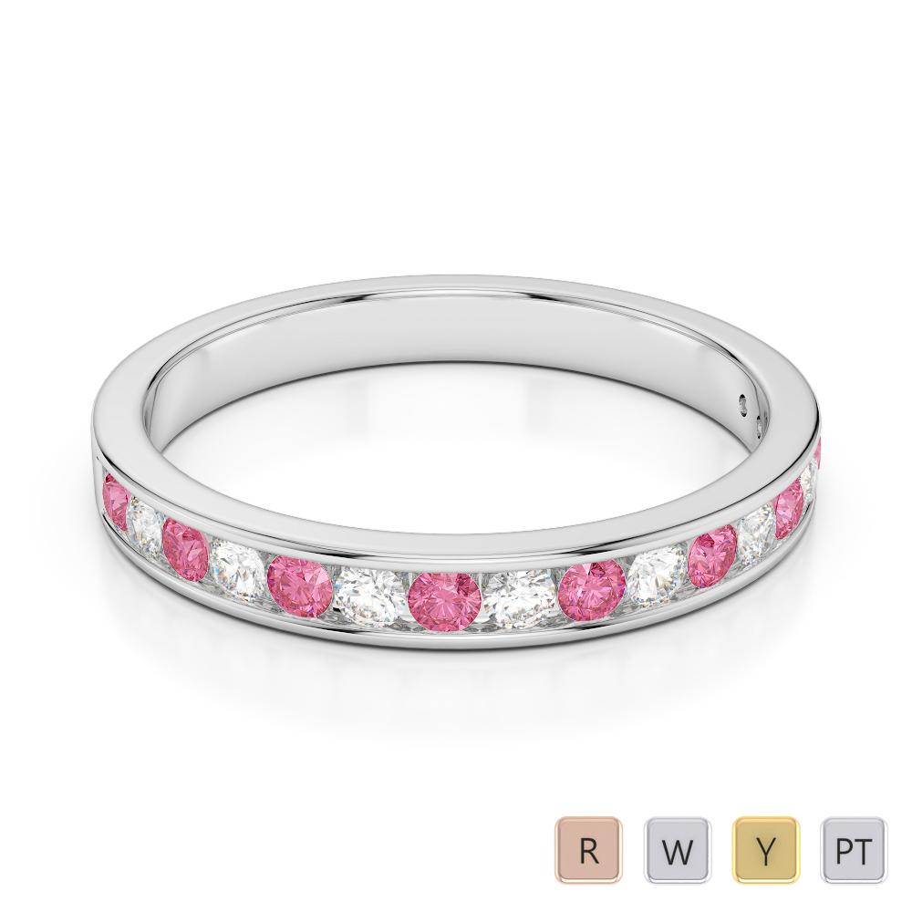 3 MM Gold / Platinum Round Cut Pink Tourmaline and Diamond Half Eternity Ring AGDR-1090