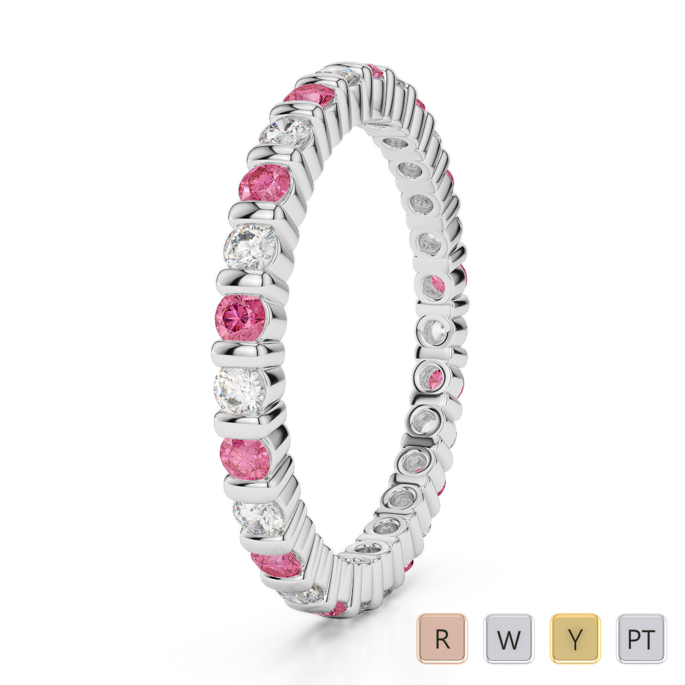 2 MM Gold / Platinum Round Cut Pink Tourmaline and Diamond Full Eternity Ring AGDR-1092