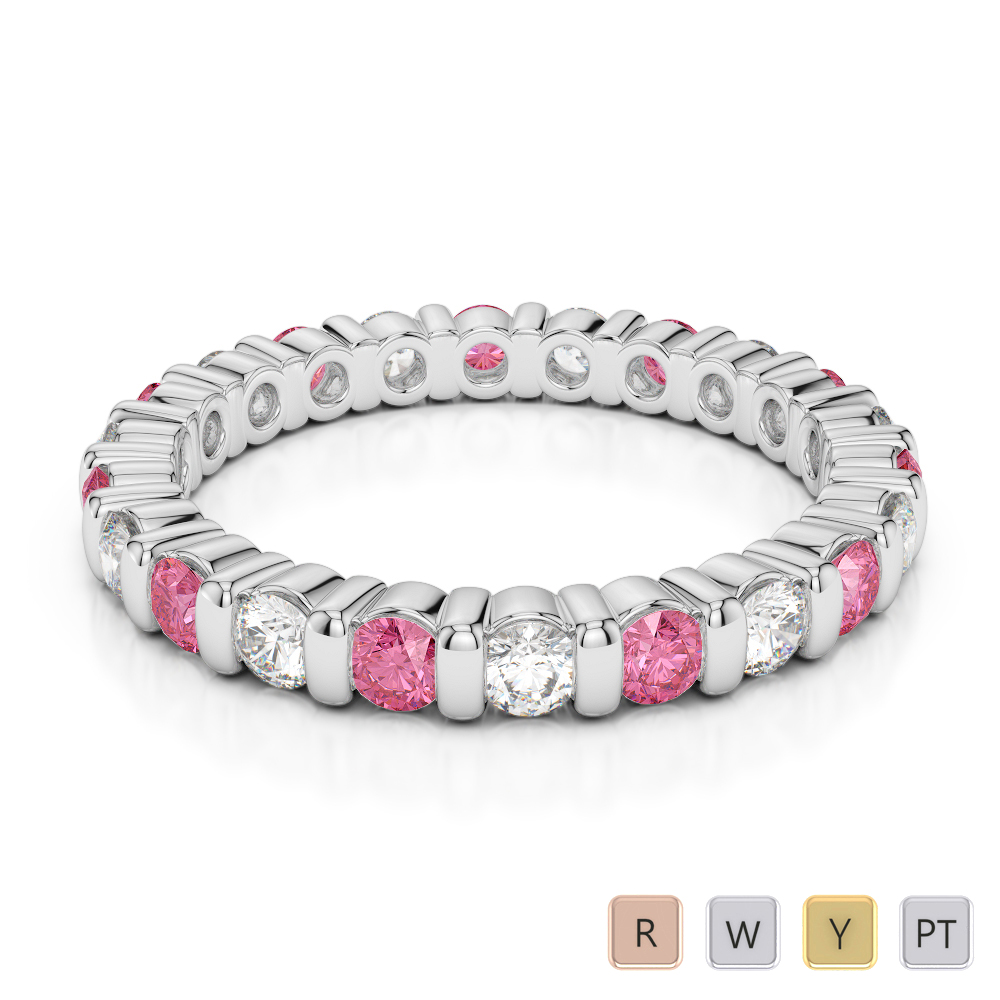 2.5 MM Gold / Platinum Round Cut Pink Tourmaline and Diamond Full Eternity Ring AGDR-1093