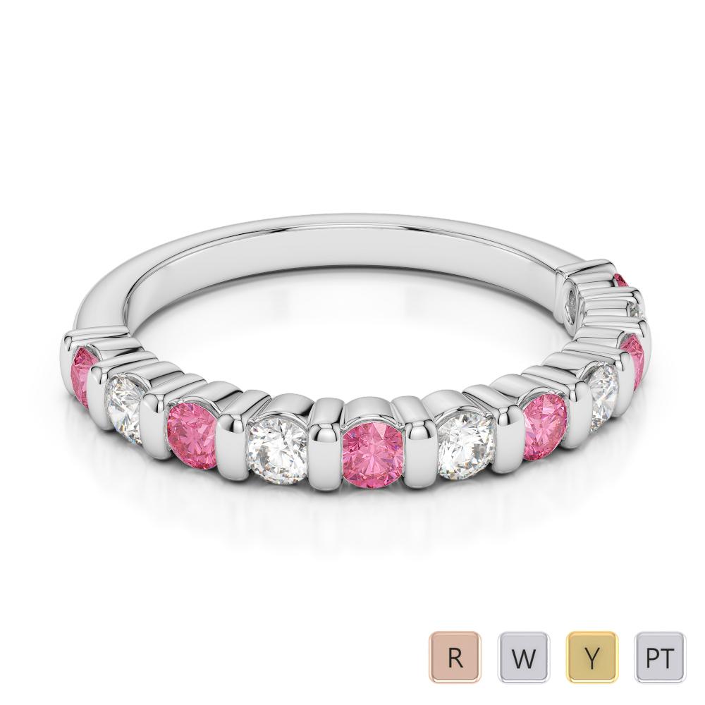 2.5 MM Gold / Platinum Round Cut Pink Tourmaline and Diamond Half Eternity Ring AGDR-1096