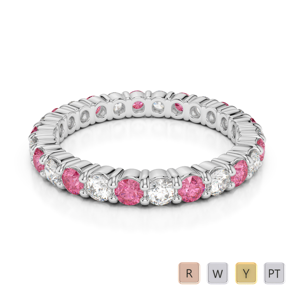 2.5 MM Gold / Platinum Round Cut Pink Tourmaline and Diamond Full Eternity Ring AGDR-1111
