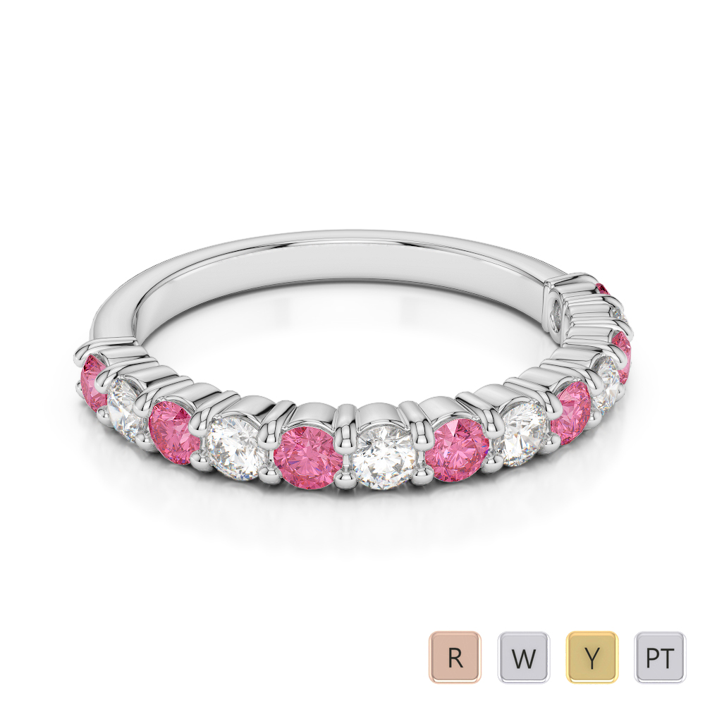 2.5 MM Gold / Platinum Round Cut Pink Tourmaline and Diamond Half Eternity Ring AGDR-1114