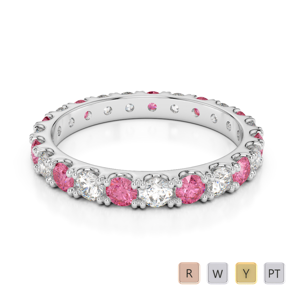 2.5 MM Gold / Platinum Round Cut Pink Tourmaline and Diamond Full Eternity Ring AGDR-1121