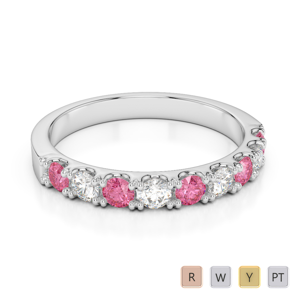 2.5 MM Gold / Platinum Round Cut Pink Tourmaline and Diamond Half Eternity Ring AGDR-1124