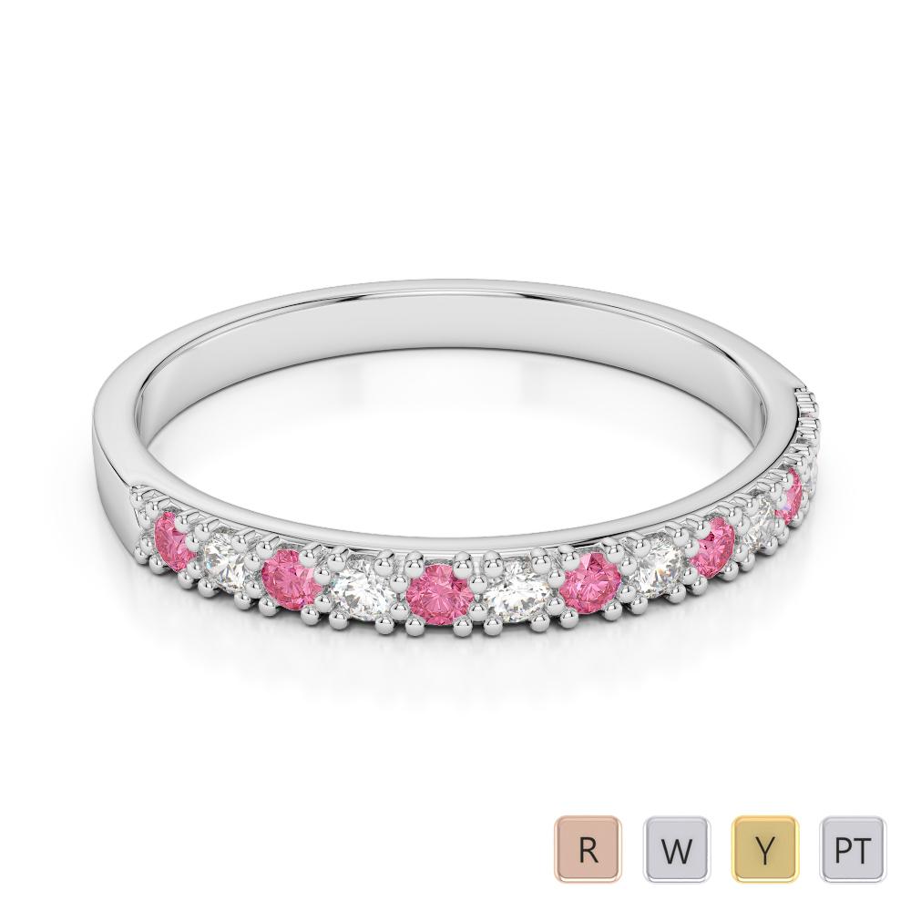 2.5 MM Gold / Platinum Round Cut Pink Tourmaline and Diamond Half Eternity Ring AGDR-1129