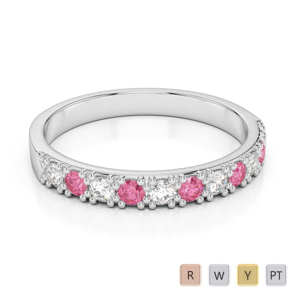 3 MM Gold / Platinum Round Cut Pink Tourmaline and Diamond Half Eternity Ring AGDR-1130