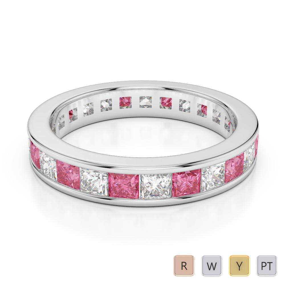 4 MM Gold / Platinum Princess Cut Pink Tourmaline and Diamond Full Eternity Ring AGDR-1134