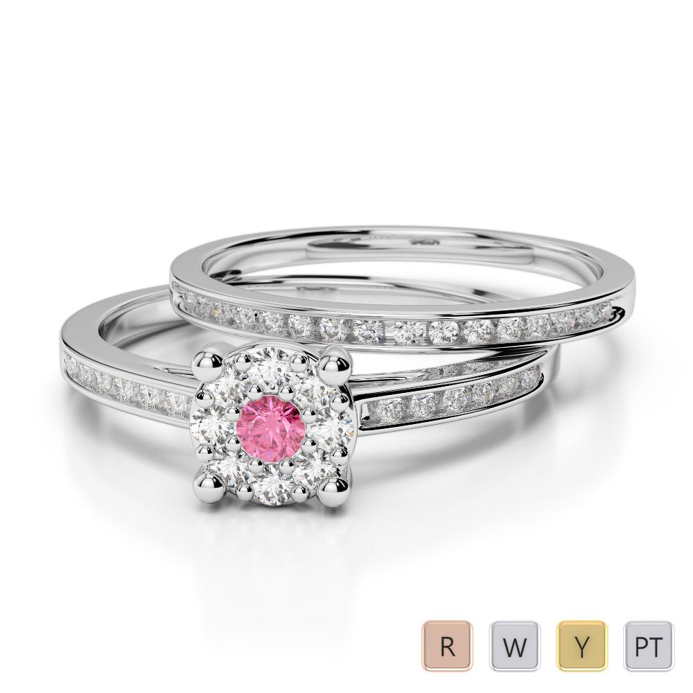 Gold / Platinum Diamond & Gemstone Bridal Set Ring AGDR-1052
