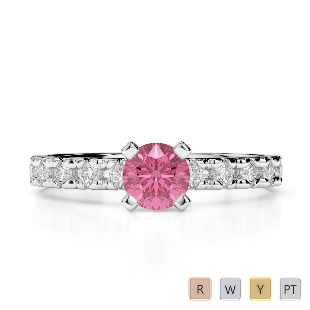 Gold / Platinum Round Cut Pink Tourmaline and Diamond Engagement Ring AGDR-1171