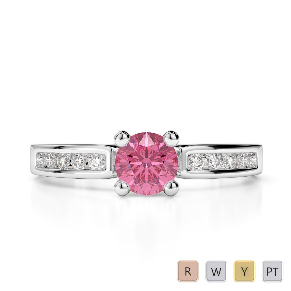 Gold / Platinum Round Cut Pink Tourmaline and Diamond Engagement Ring AGDR-1184