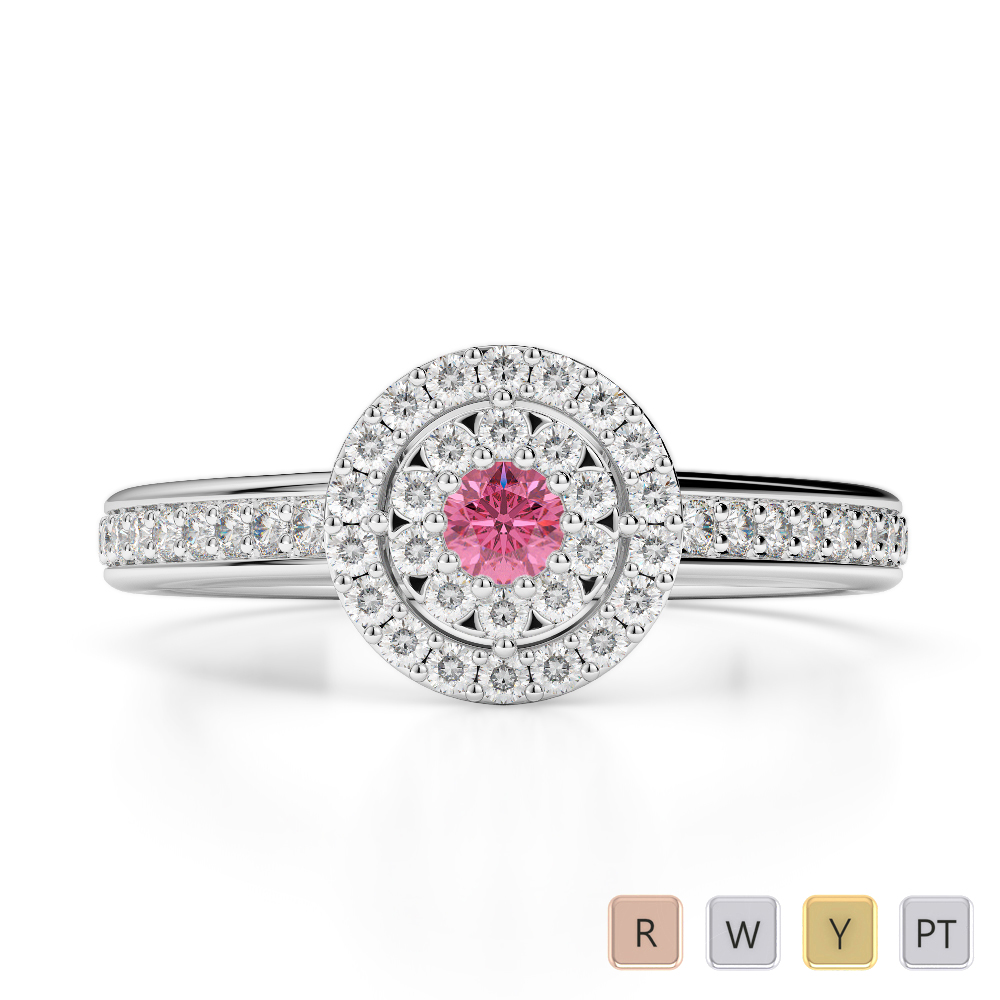 Gold / Platinum Round Cut Pink Tourmaline and Diamond Engagement Ring AGDR-1188