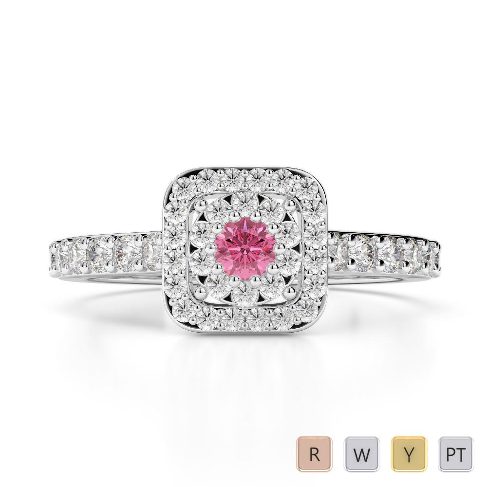 Gold / Platinum Round Cut Pink Tourmaline and Diamond Engagement Ring AGDR-1189