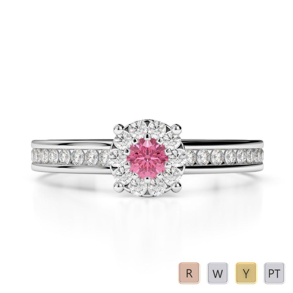 Gold / Platinum Round Cut Pink Tourmaline and Diamond Engagement Ring AGDR-1190