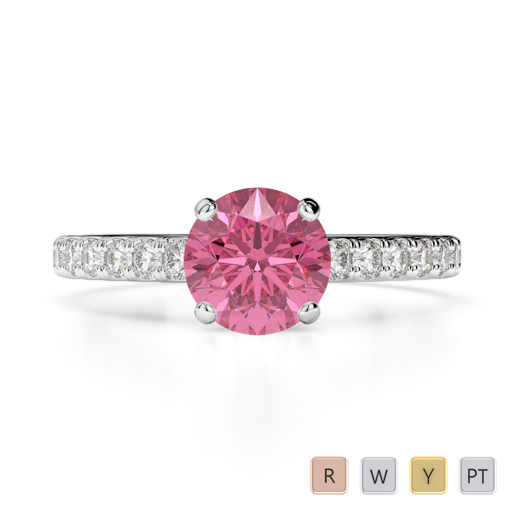 Gold / Platinum Round Cut Pink Tourmaline and Diamond Engagement Ring AGDR-1201