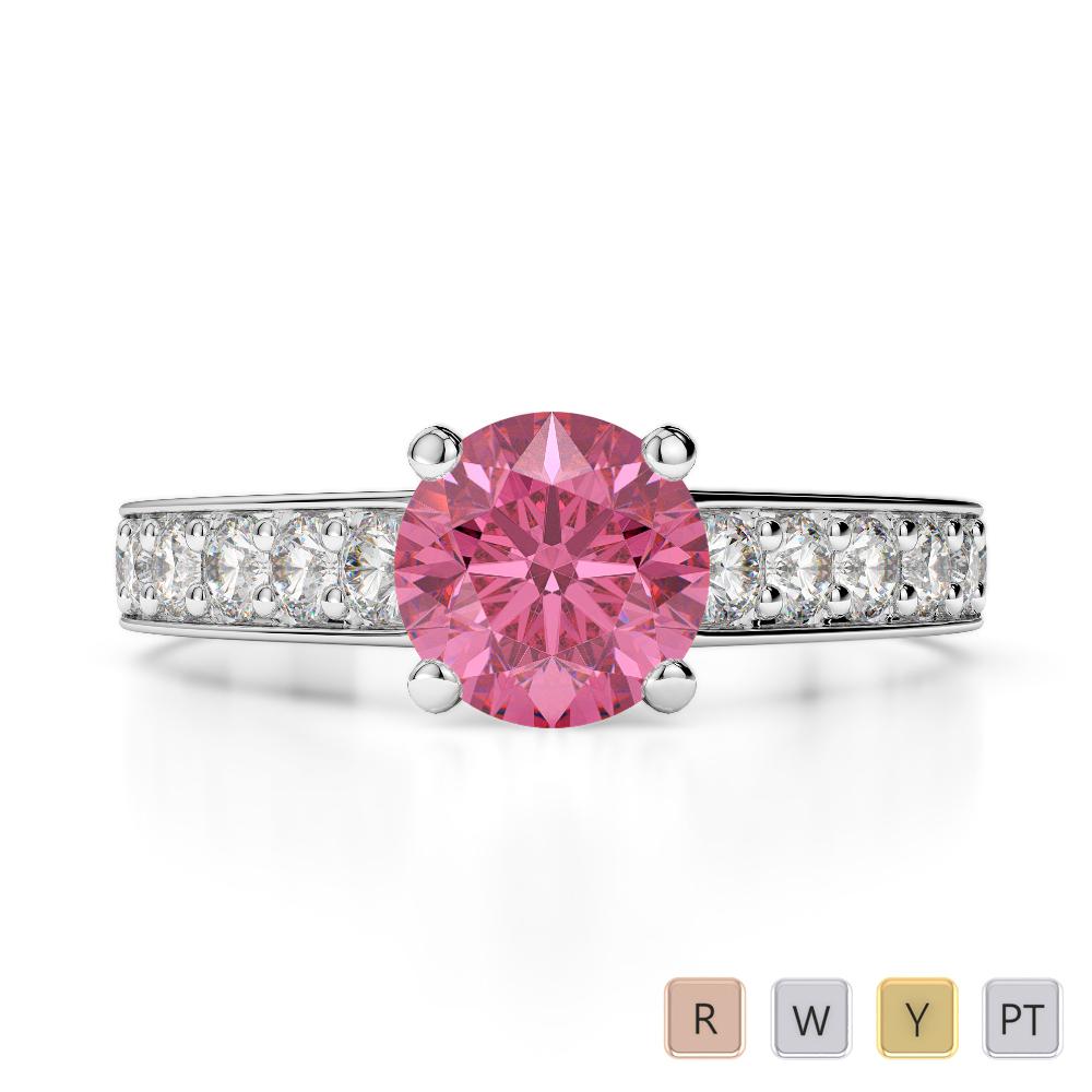 Gold / Platinum Round Cut Pink Tourmaline and Diamond Engagement Ring AGDR-1202