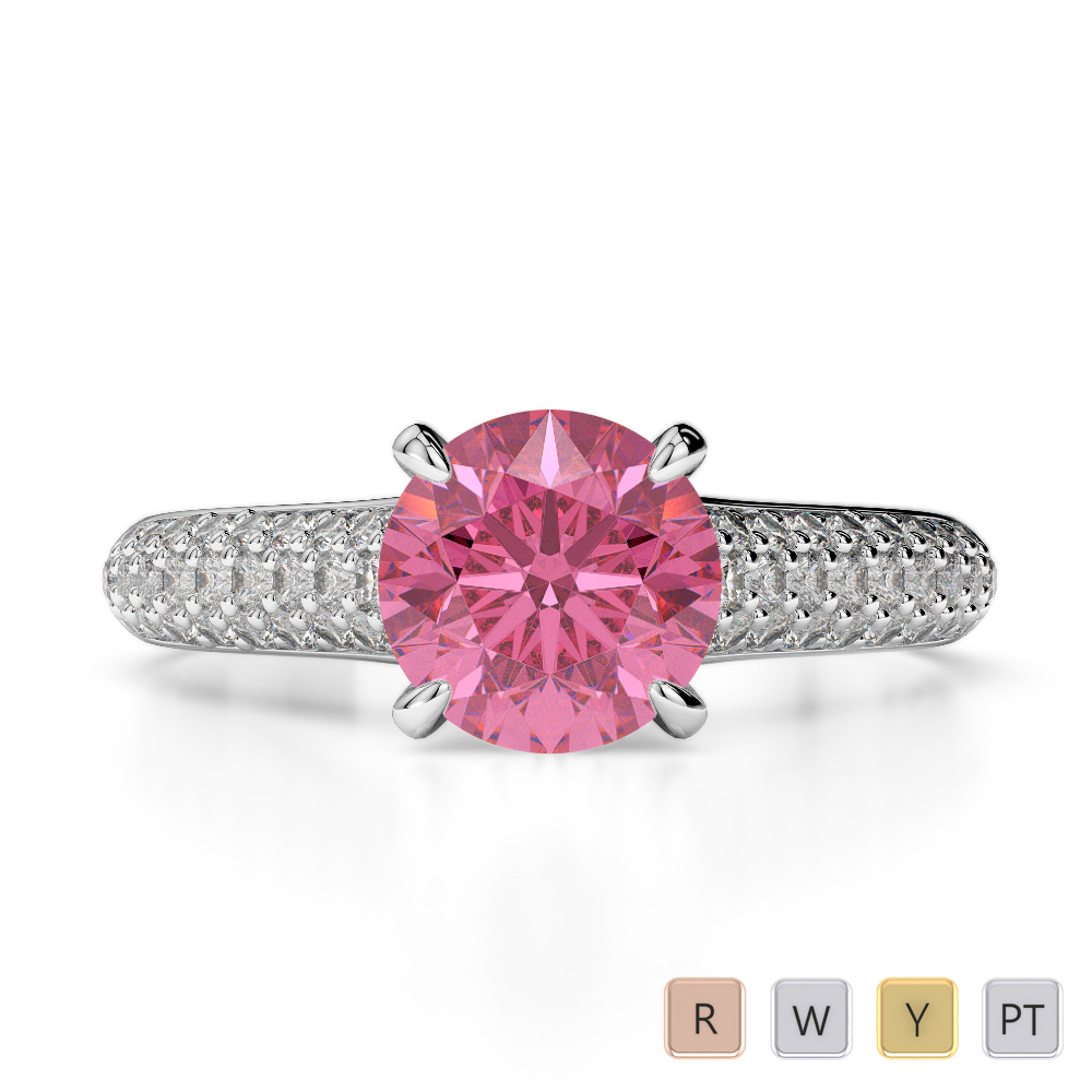 Gold / Platinum Round Cut Pink Tourmaline and Diamond Engagement Ring AGDR-1203