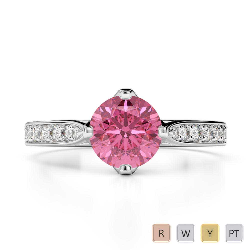 Gold / Platinum Round Cut Pink Tourmaline and Diamond Engagement Ring AGDR-1204