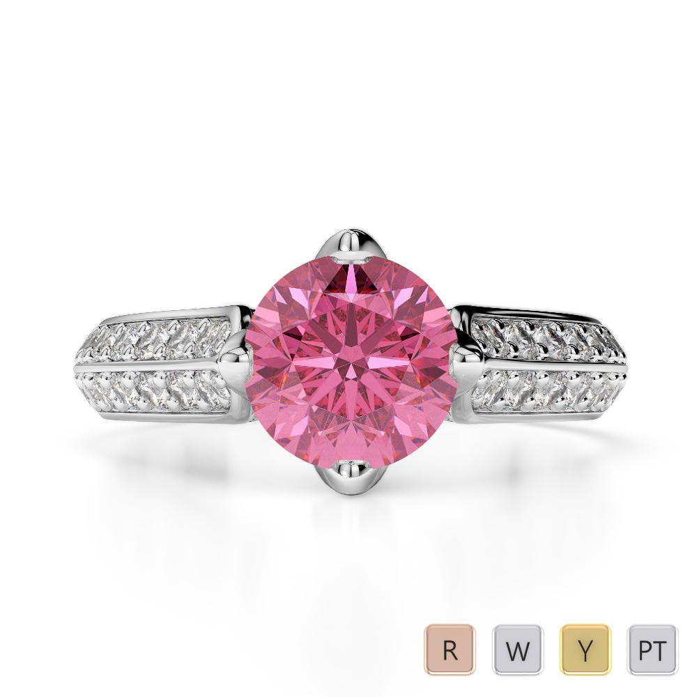 Gold / Platinum Round Cut Pink Tourmaline and Diamond Engagement Ring AGDR-1205