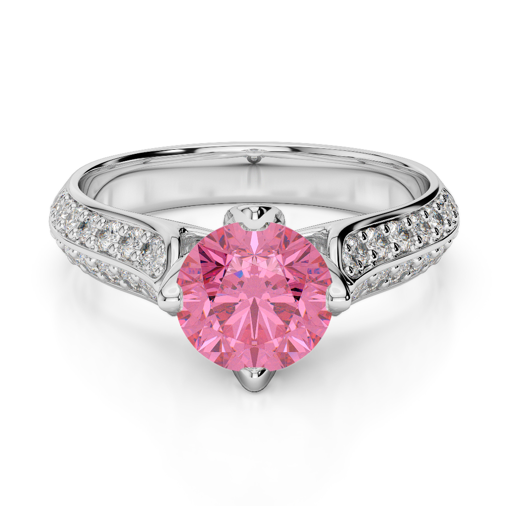 Gold / platinum round cut pink tourmaline and diamond engagement ...