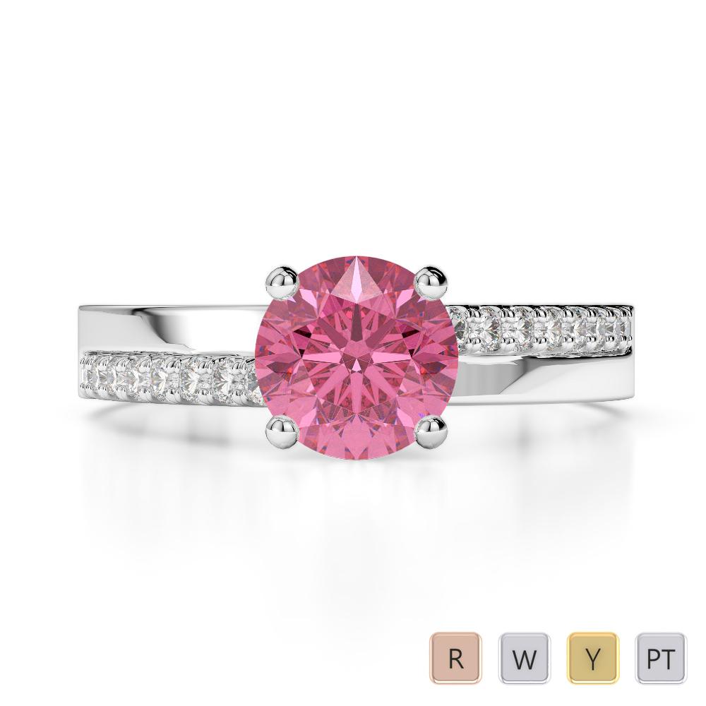 Gold / Platinum Round Cut Pink Tourmaline and Diamond Engagement Ring AGDR-1206
