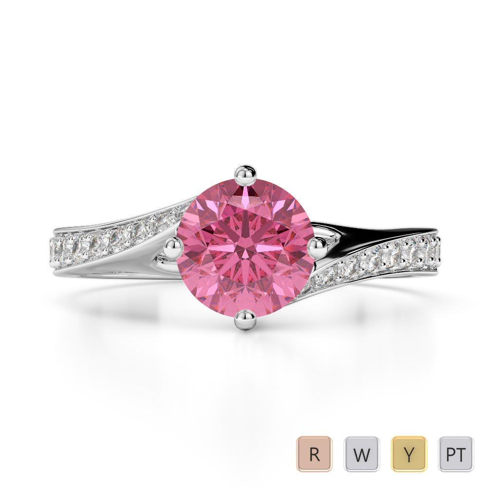 Gold / Platinum Round Cut Pink Tourmaline and Diamond Engagement Ring AGDR-1207