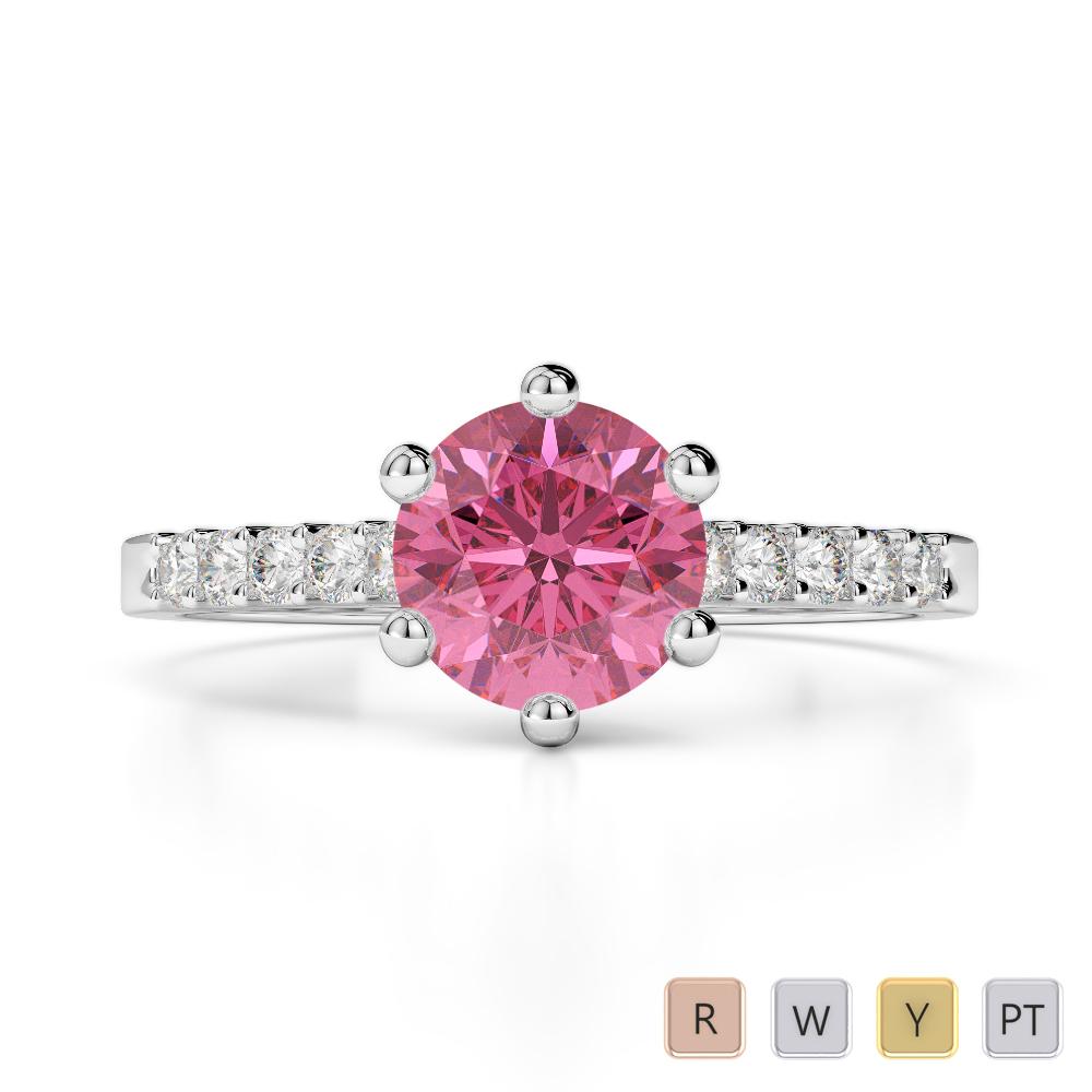 Gold / Platinum Round Cut Pink Tourmaline and Diamond Engagement Ring AGDR-1208