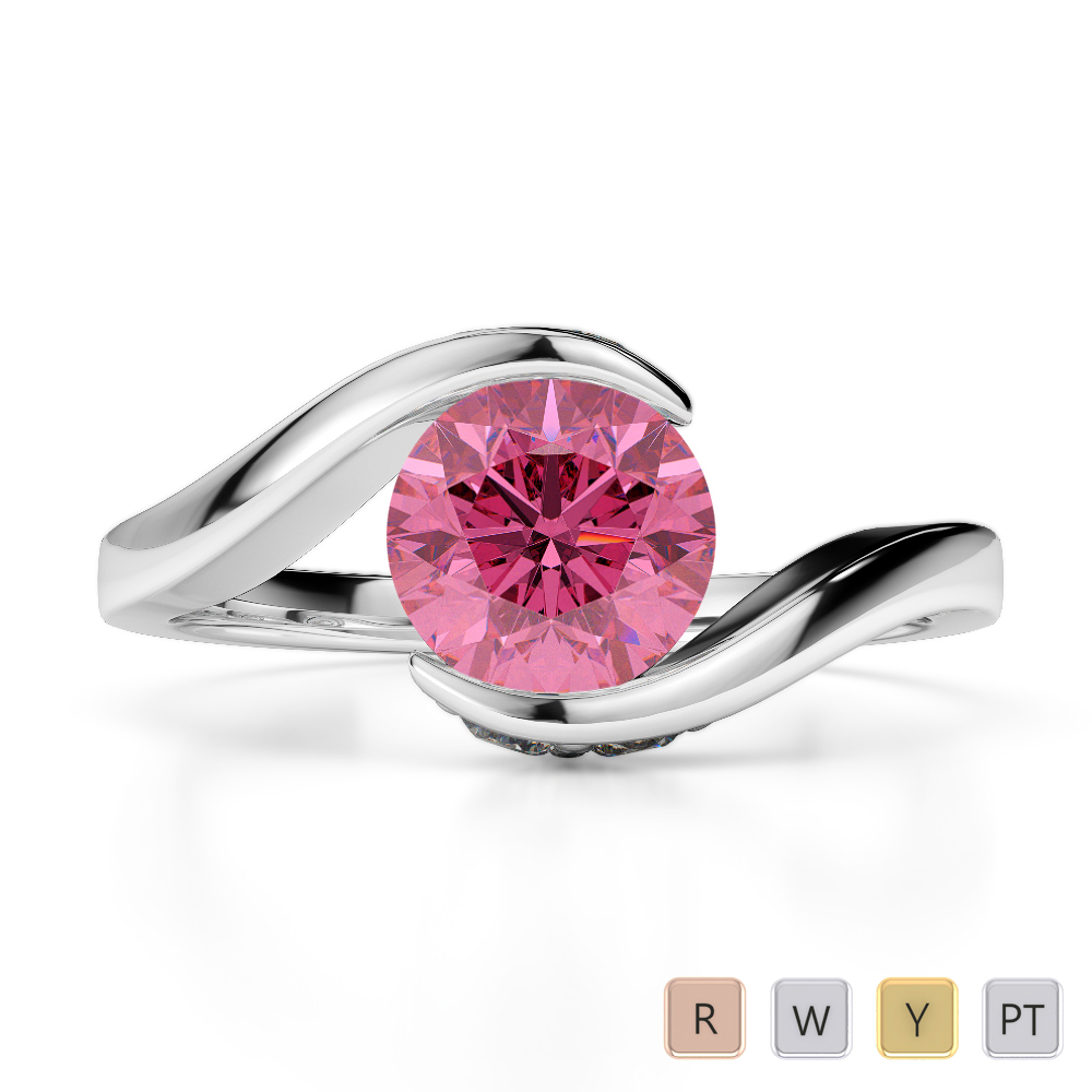 Gold / Platinum Round Cut Pink Tourmaline and Diamond Engagement Ring AGDR-1209