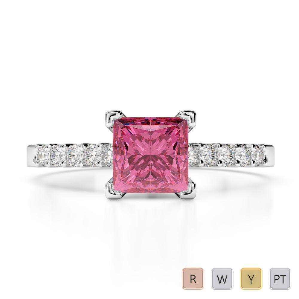 Gold / Platinum Round and Princess Cut Pink Tourmaline and Diamond Engagement Ring AGDR-1210