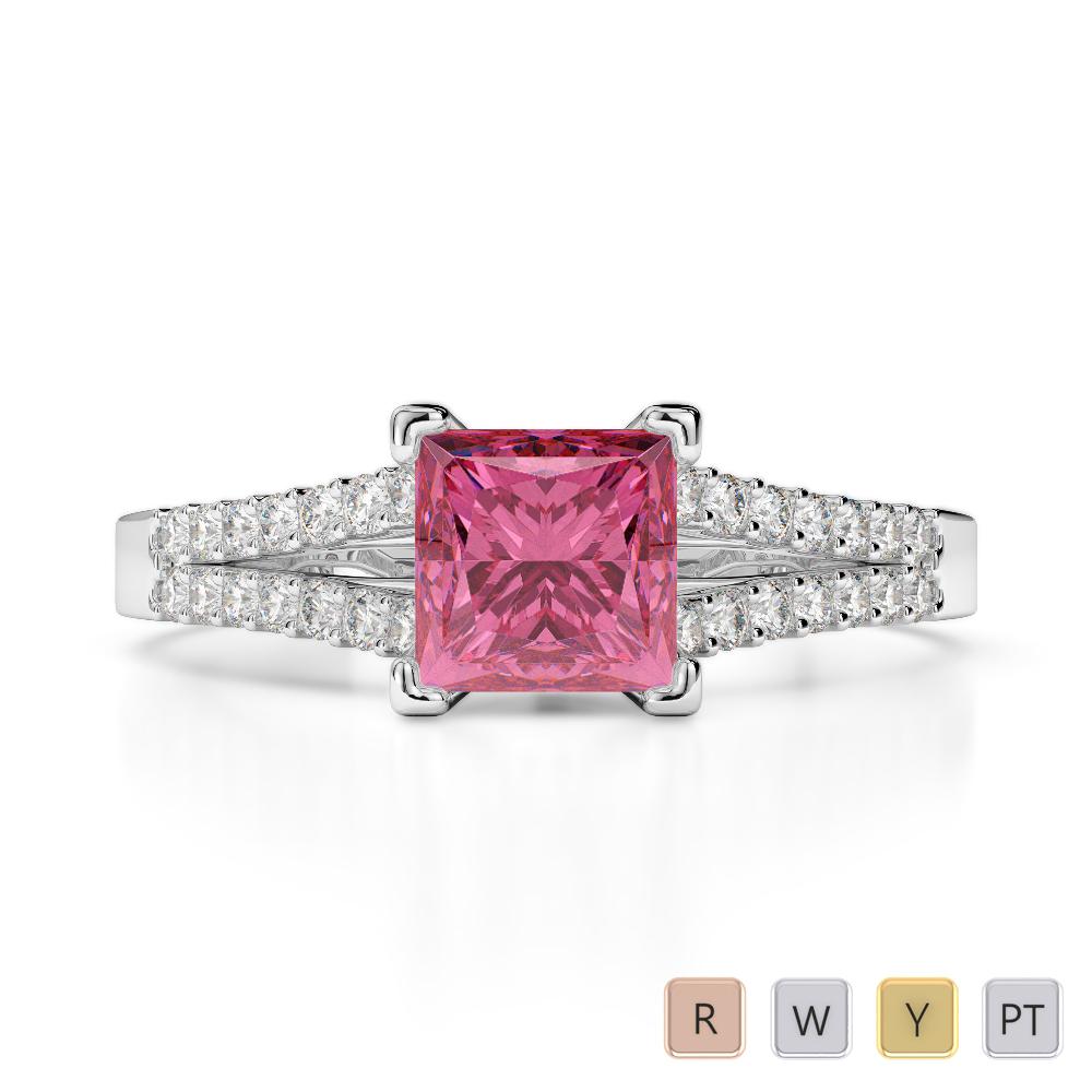 Gold / Platinum Round and Princess Cut Pink Tourmaline and Diamond Engagement Ring AGDR-1211