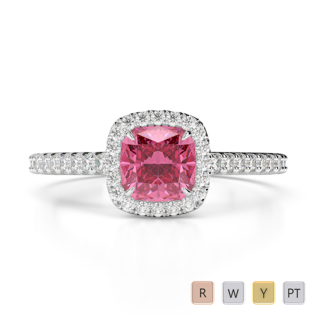 Gold / Platinum Round and Cushion Cut Pink Tourmaline and Diamond Engagement Ring AGDR-1212