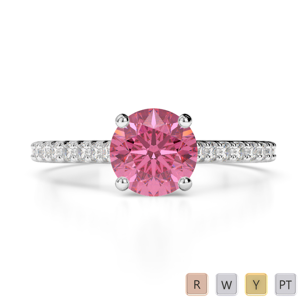 Gold / Platinum Round Cut Pink Tourmaline and Diamond Engagement Ring AGDR-1213