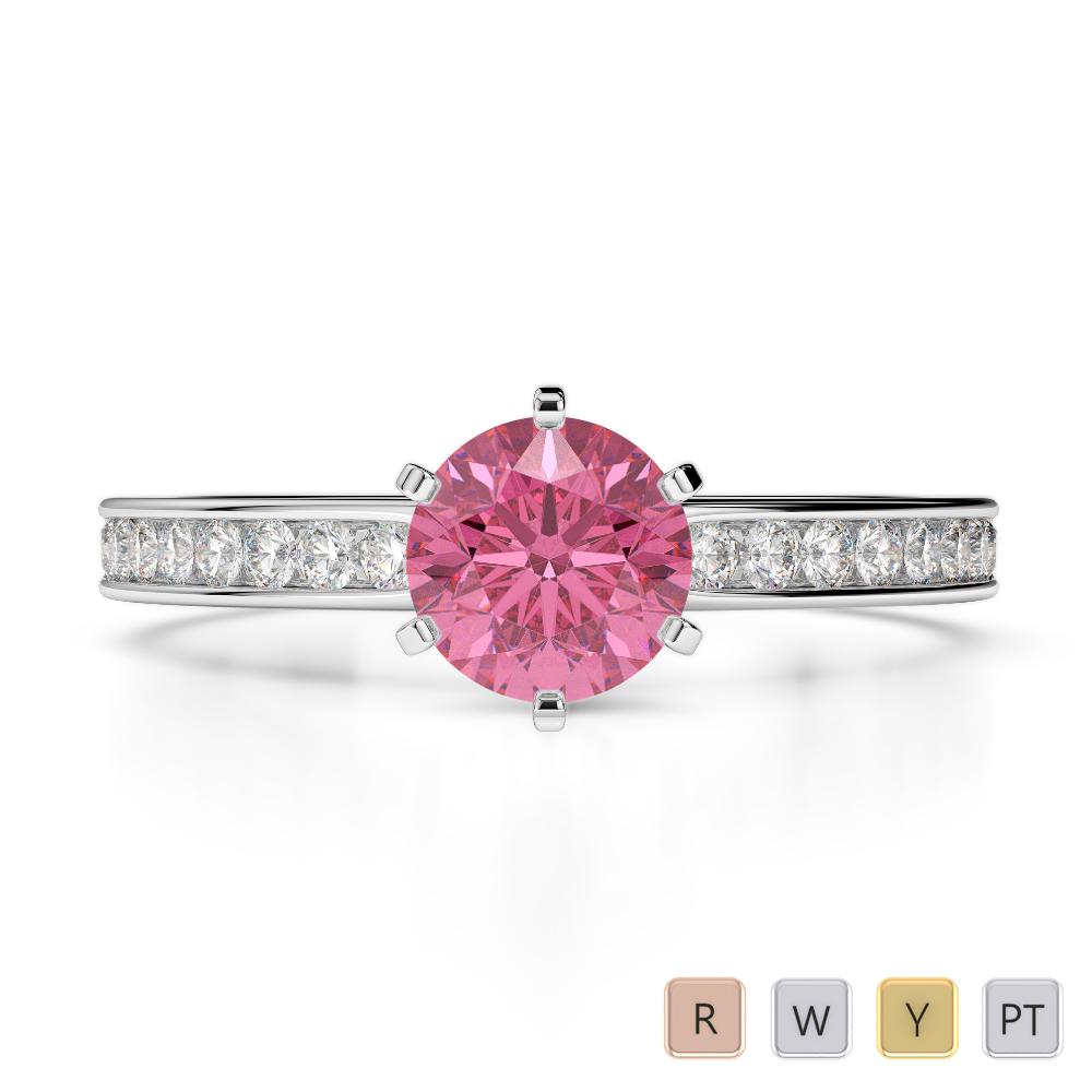 Gold / Platinum Round Cut Pink Tourmaline and Diamond Engagement Ring AGDR-1214