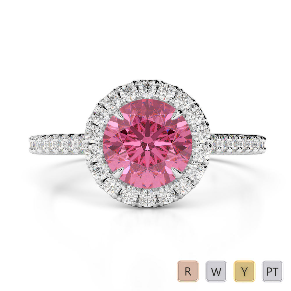 Gold / Platinum Round Cut Pink Tourmaline and Diamond Engagement Ring AGDR-1215