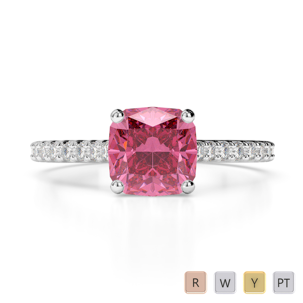 Gold / Platinum Round and Cushion Cut Pink Tourmaline and Diamond Engagement Ring AGDR-1216