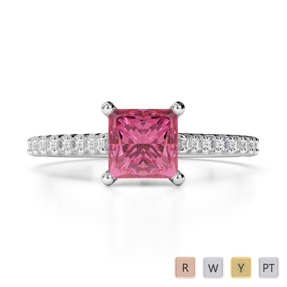 Gold / Platinum Round and Princess Cut Pink Tourmaline and Diamond Engagement Ring AGDR-1217