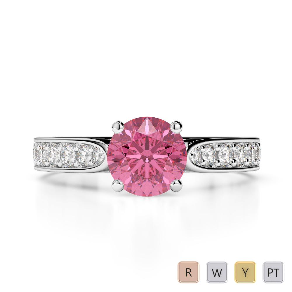 Gold / Platinum Round Cut Pink Tourmaline and Diamond Engagement Ring AGDR-1221