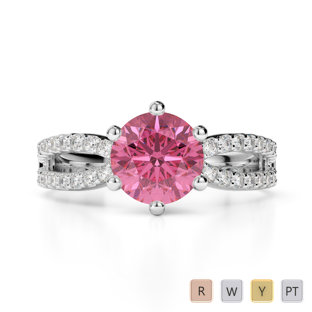 Gold / Platinum Round Cut Pink Tourmaline and Diamond Engagement Ring AGDR-1223