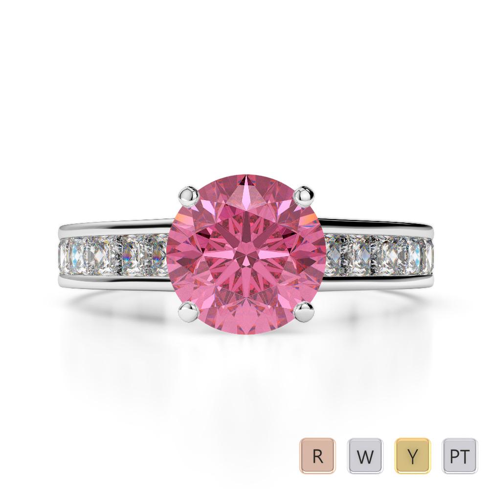 Gold / Platinum Round and Princess Cut Pink Tourmaline and Diamond Engagement Ring AGDR-1224
