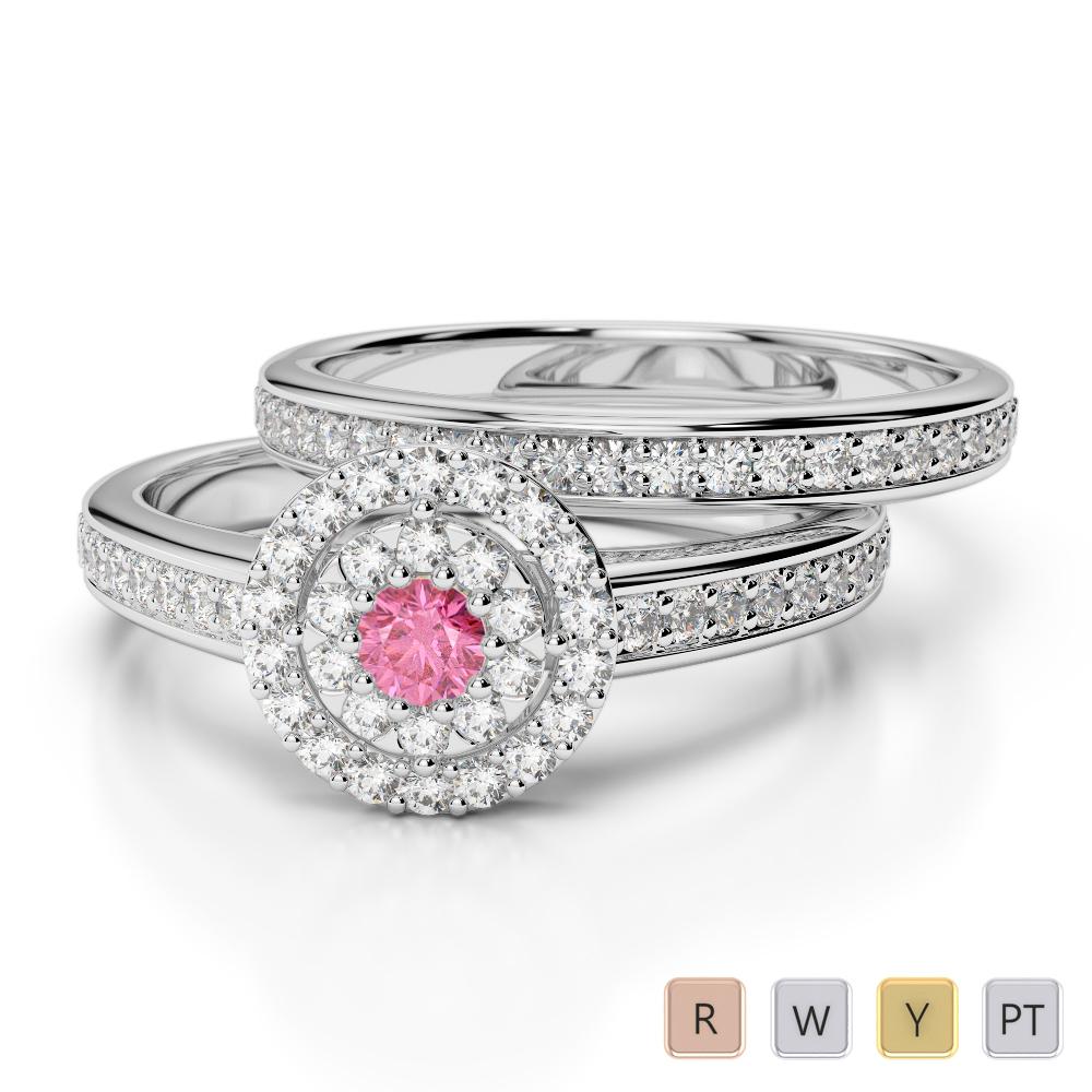 Gold / Platinum Round cut Pink Tourmaline and Diamond Bridal Set Ring AGDR-1239