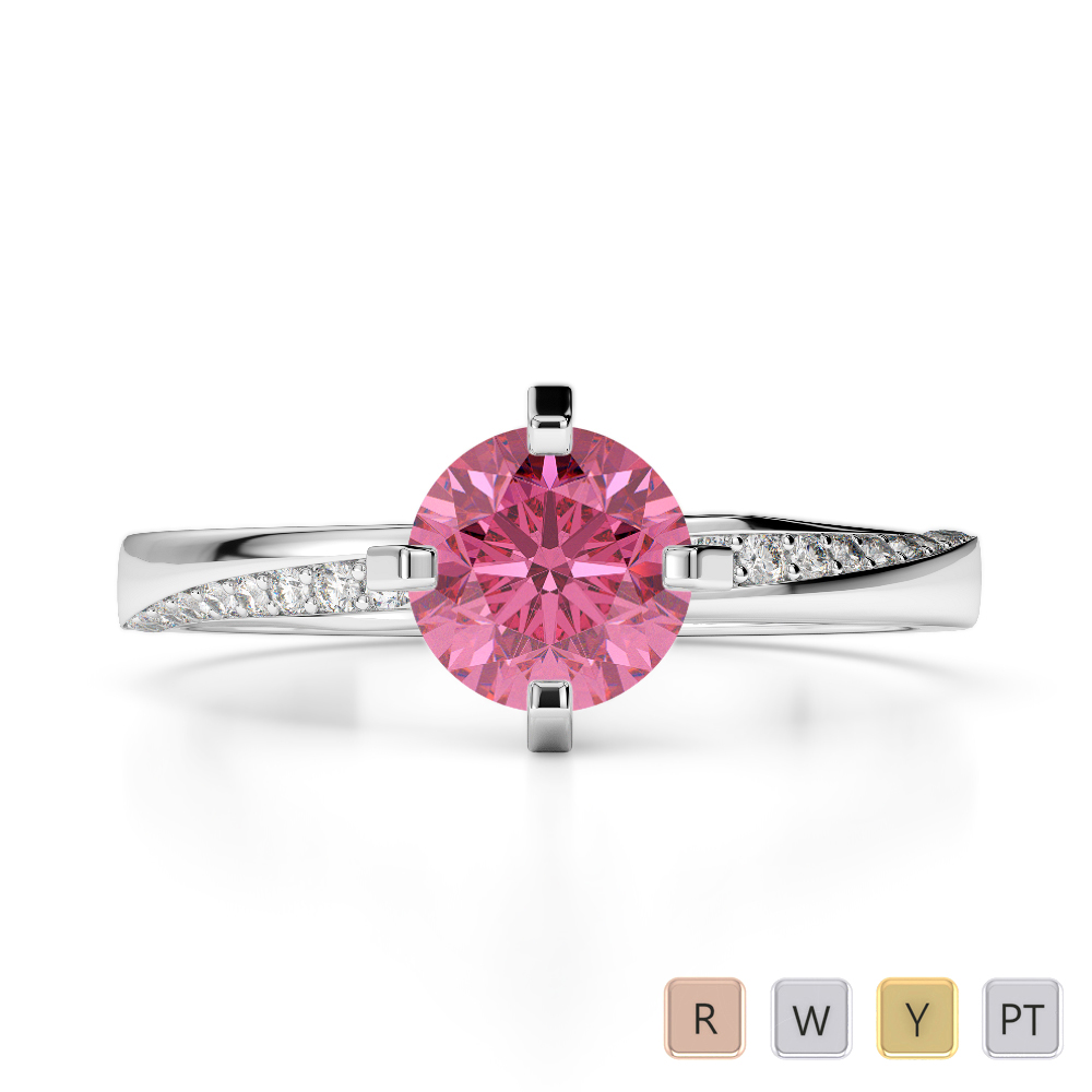 Gold / Platinum Round Cut Pink Tourmaline and Diamond Engagement Ring AGDR-2002