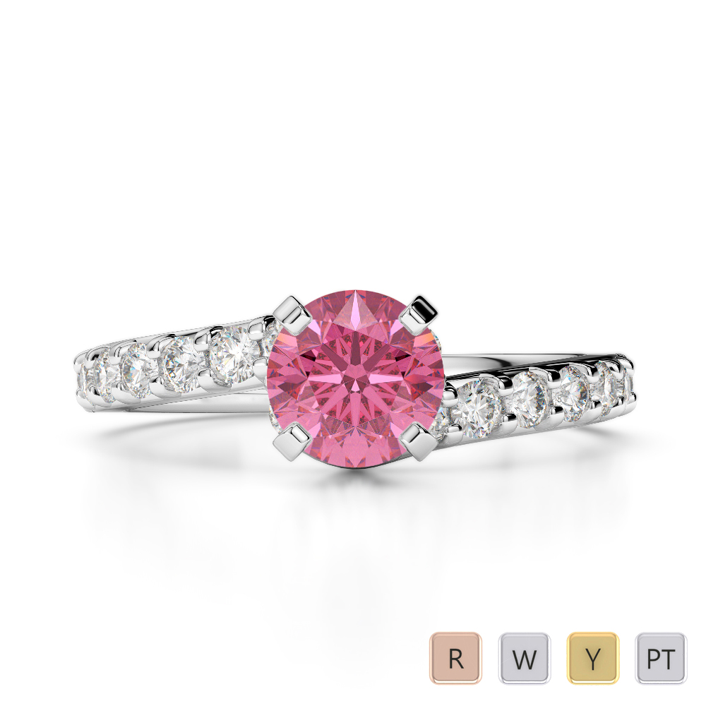 Gold / Platinum Round Cut Pink Tourmaline and Diamond Engagement Ring AGDR-2004