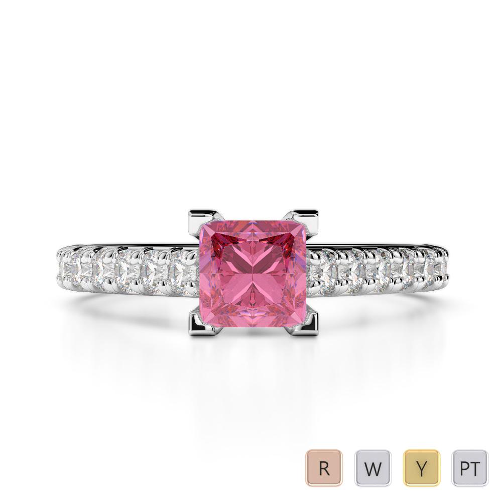 Gold / Platinum Round and Princess Cut Pink Tourmaline and Diamond Engagement Ring AGDR-2008