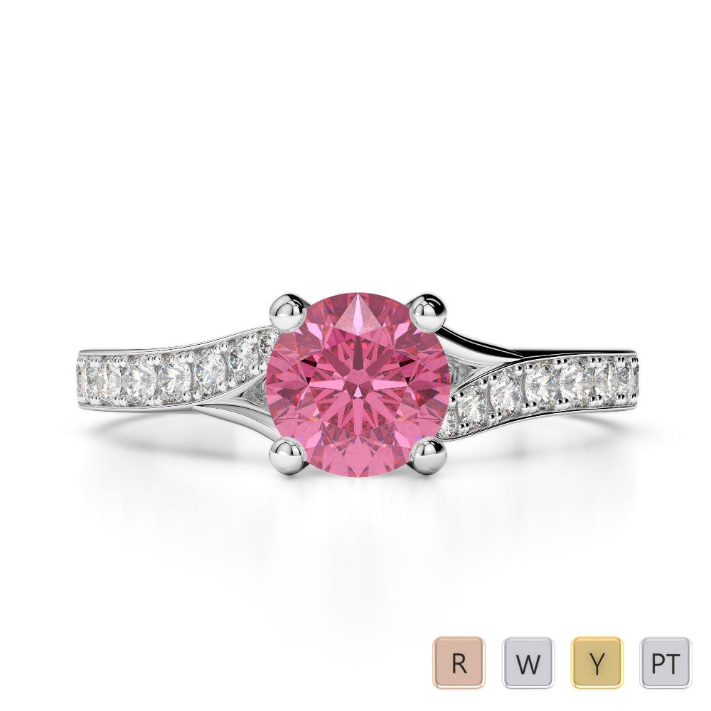 Gold / Platinum Round Cut Pink Tourmaline and Diamond Engagement Ring AGDR-2012