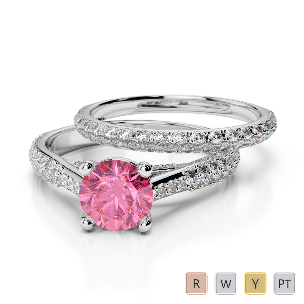 Gold / Platinum Round cut Pink Tourmaline and Diamond Bridal Set Ring AGDR-2013