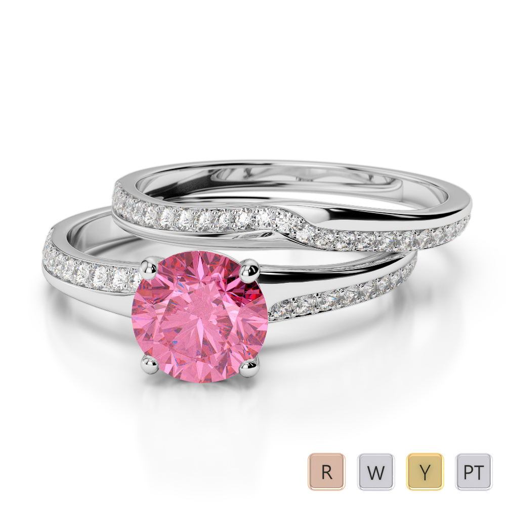Gold / Platinum Round cut Pink Tourmaline and Diamond Bridal Set Ring AGDR-2015