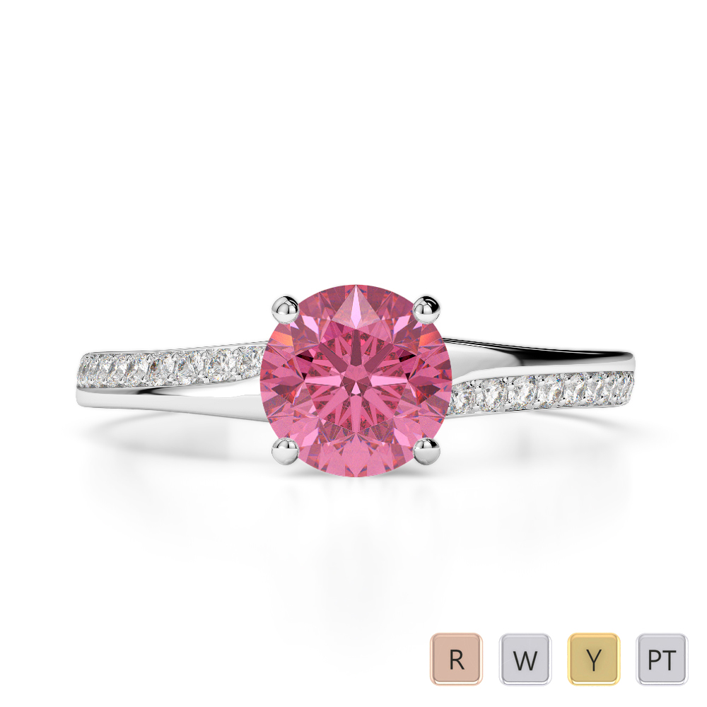 Gold / Platinum Round Cut Pink Tourmaline and Diamond Engagement Ring AGDR-2016