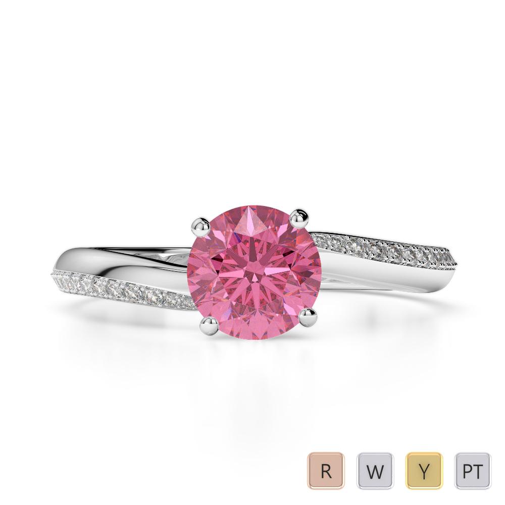Gold / Platinum Round Cut Pink Tourmaline and Diamond Engagement Ring AGDR-2018